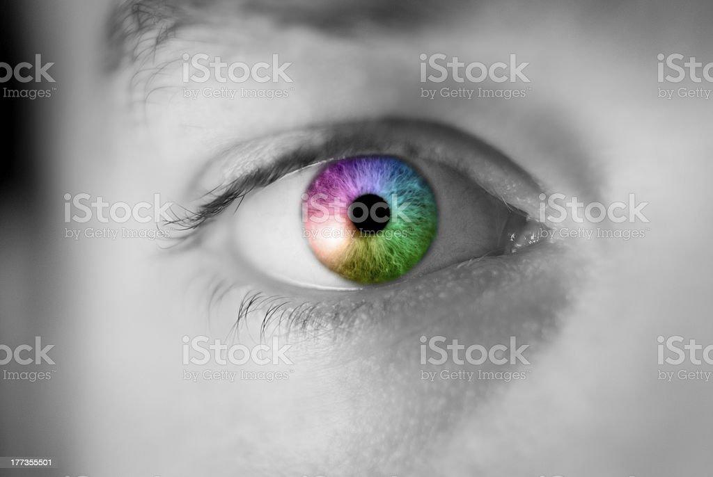 Rainbow colored eye close up - BW stock photo
