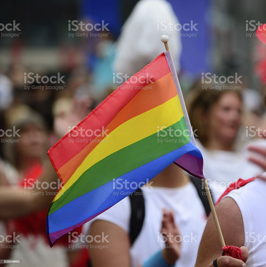 Rainbow colored flag, Gay pride symbol stock photo