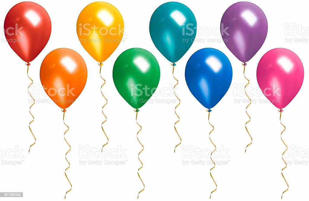Rainbow Colored Floating Balloons with Streamers Isolated on White stock photo