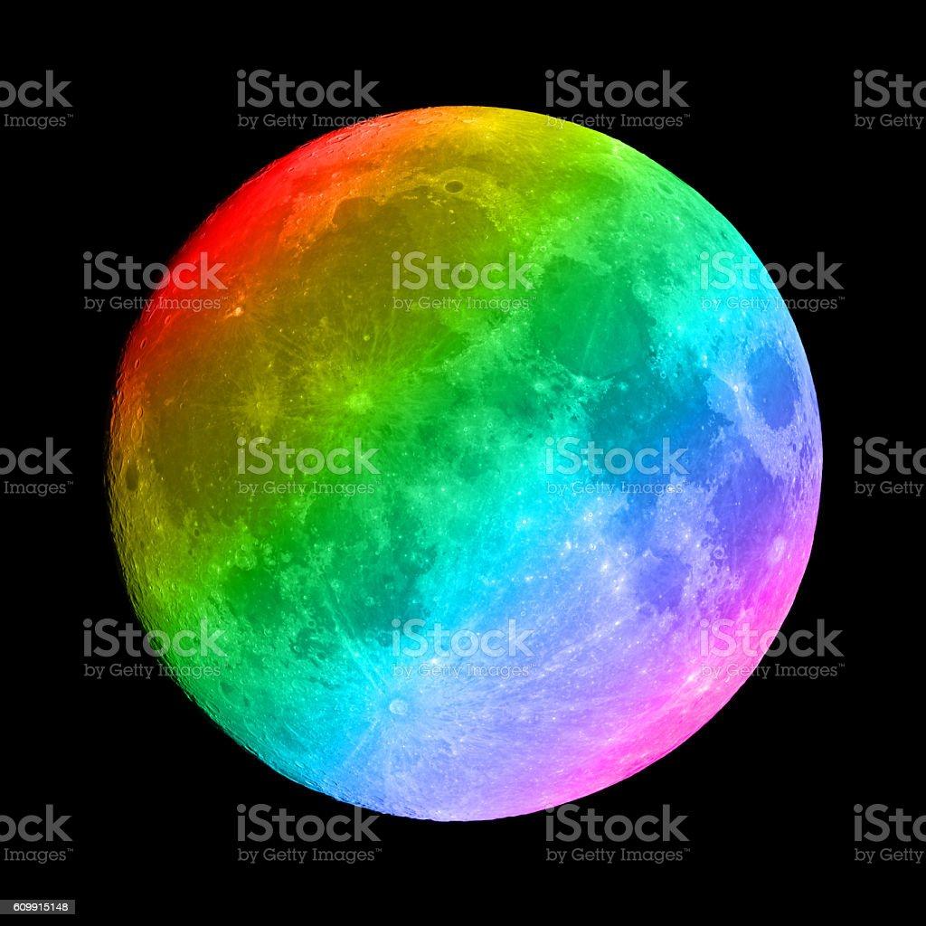 Rainbow colored full Moon stock photo