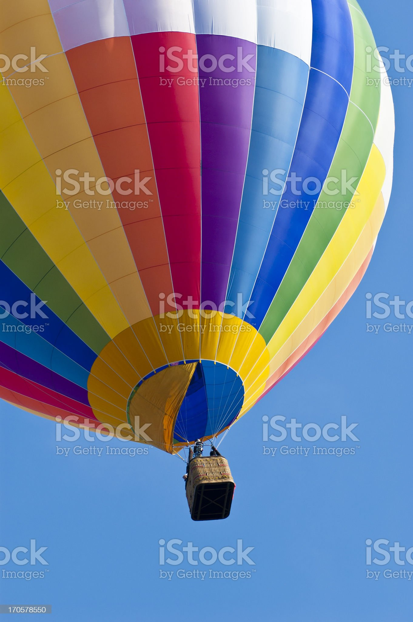 Rainbow Colored Hot Air Balloon royalty-free stock photo