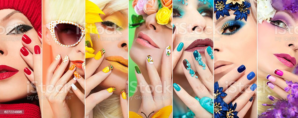 Rainbow colored makeup and manicure. stock photo
