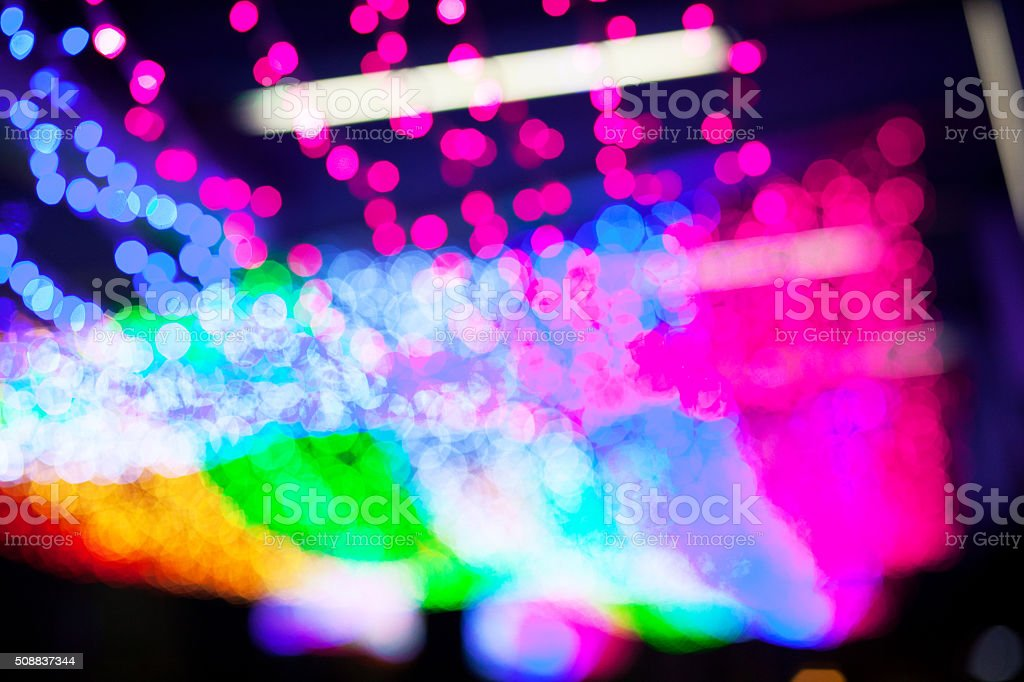 Rainbow colored neon lights stock photo