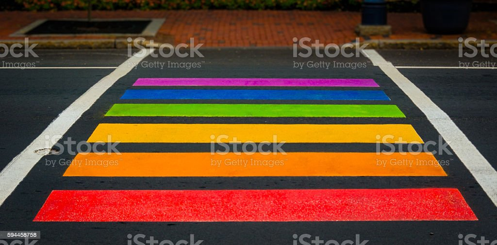Rainbow colored pedestrian crossing in Moncton, New Brunswick. stock photo