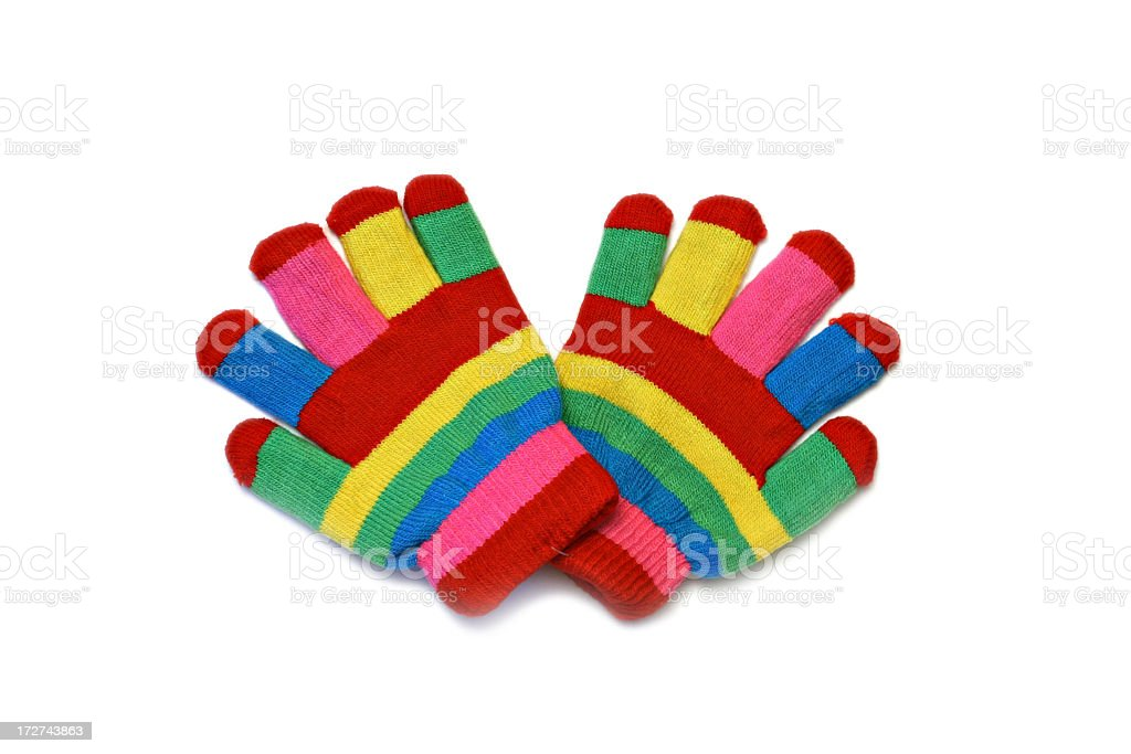 Rainbow colored stripe gloves against white background royalty-free stock photo