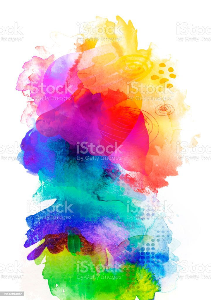 rainbow colored watercolor paints and textures on white stock photo