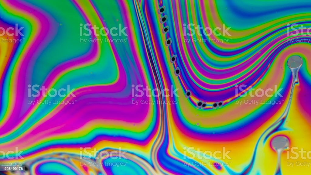 Rainbow colors created by soap, bubble stock photo