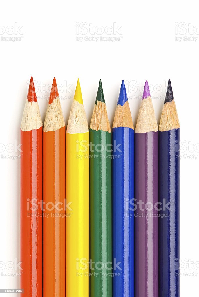 Rainbow colors in pencils royalty-free stock photo