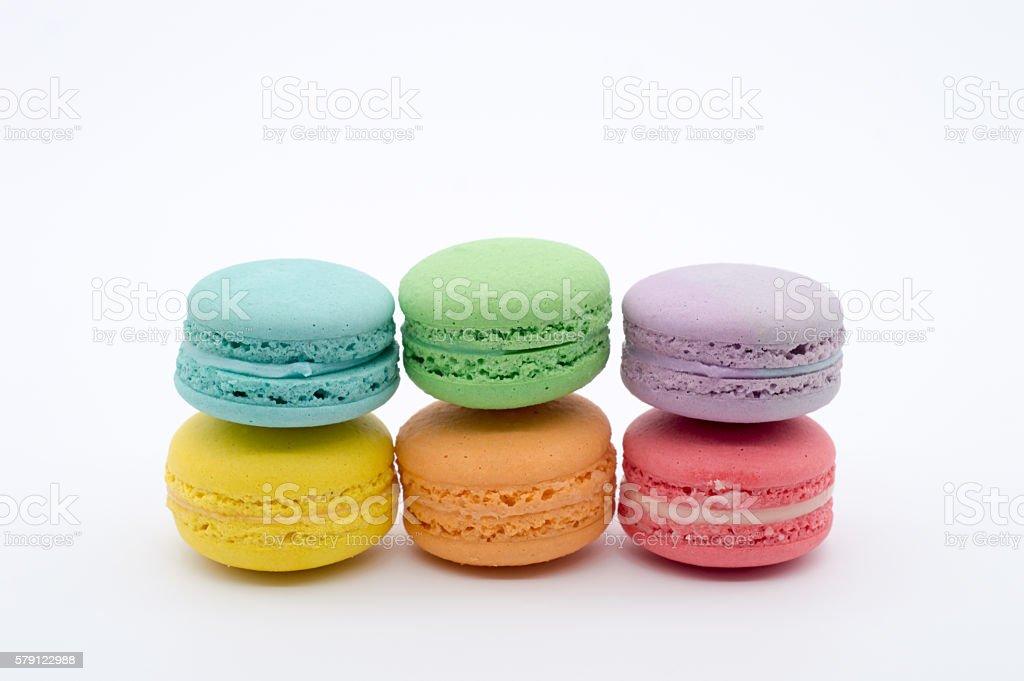 Rainbow colour macaron stock photo