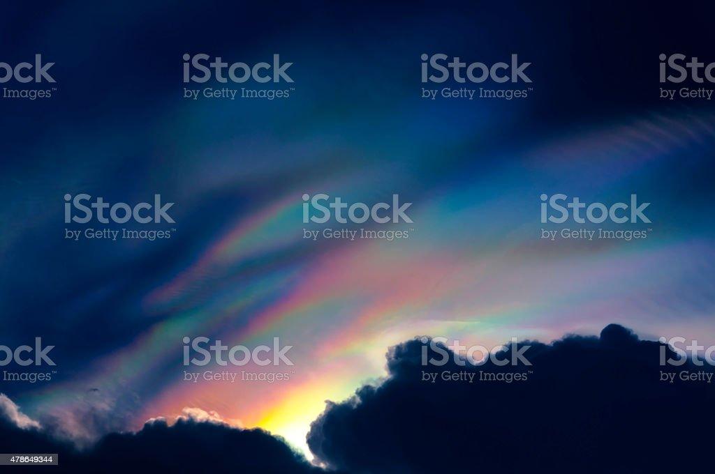 Rainbow colour over raincloud in the sky royalty-free stock photo