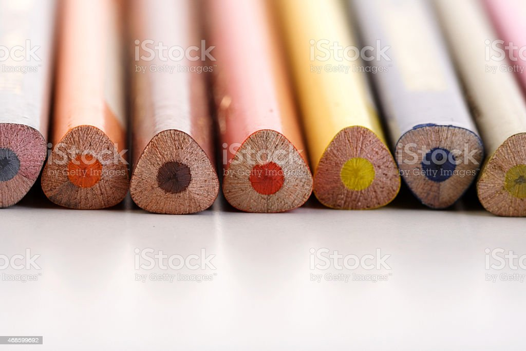Rainbow coloured pencils - close-up stock photo