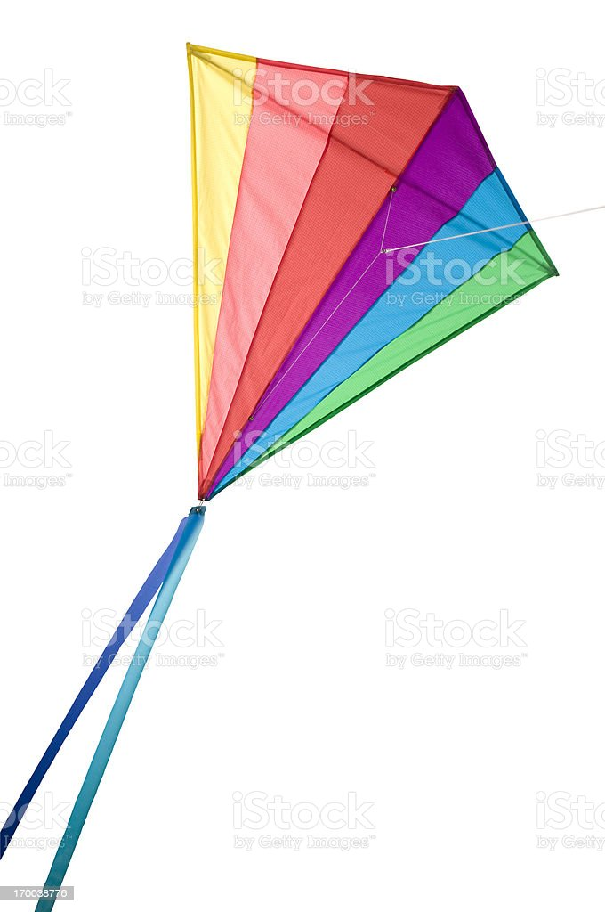 Rainbow Delta Kite Isolated on White with Clipping Path stock photo