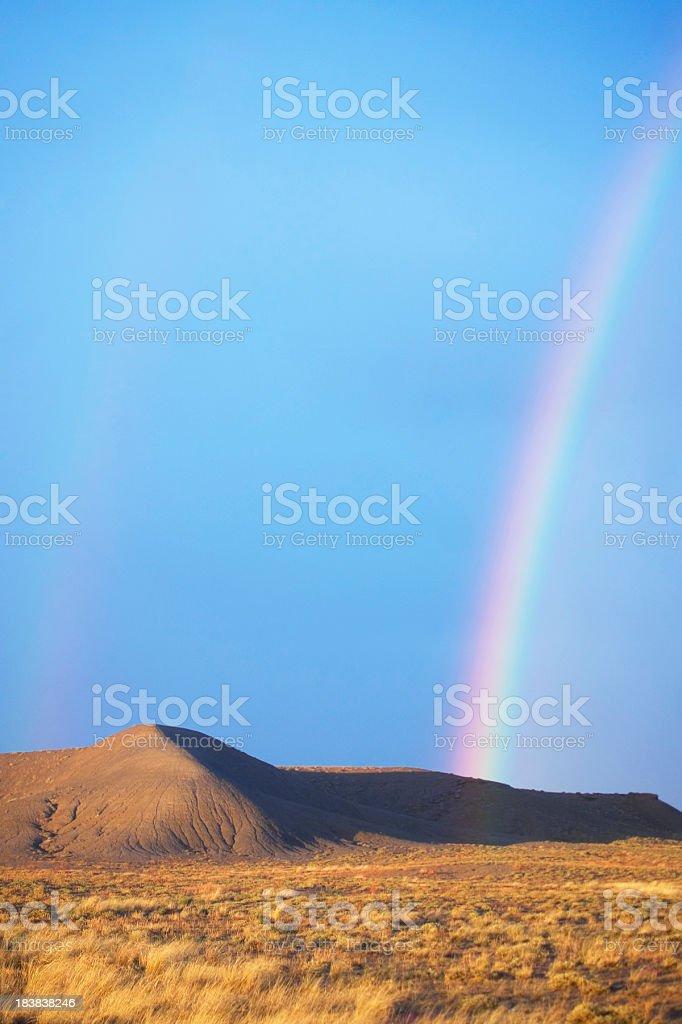 rainbow desert landscape sunset stock photo