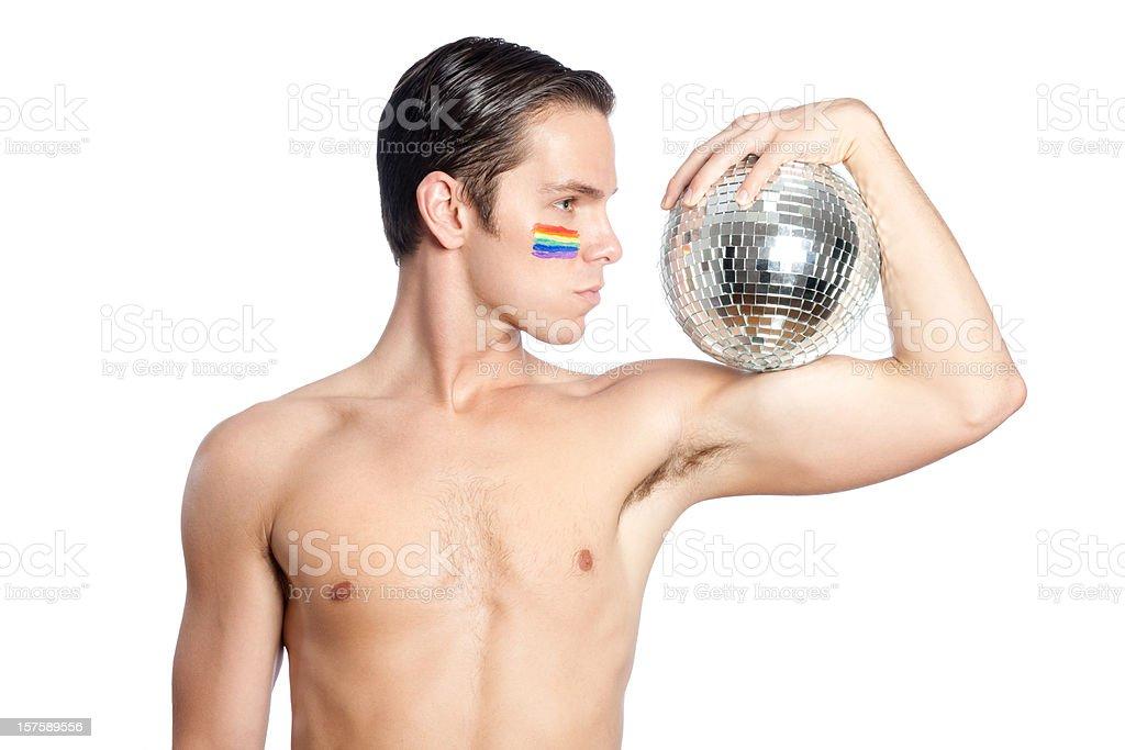 Rainbow Disco Ball Guy royalty-free stock photo