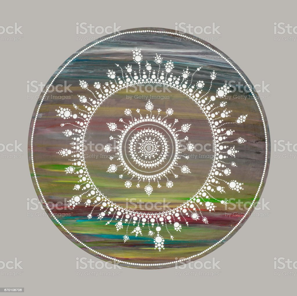 Rainbow dots mandala stock photo