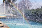 Rainbow effect on waterdrops fountain