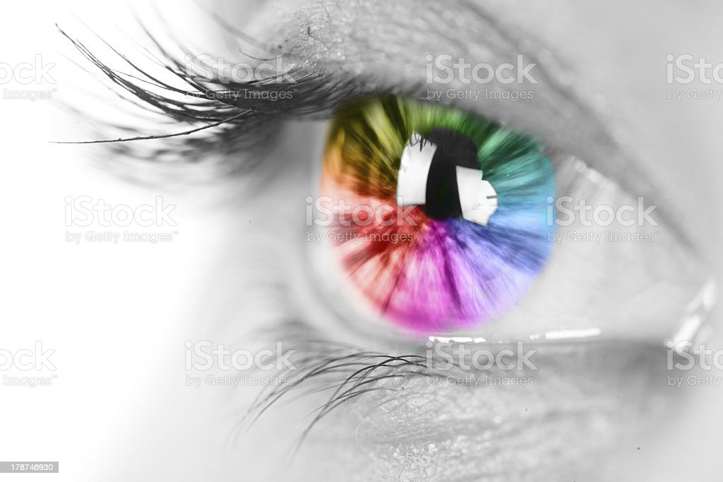 Rainbow eye closeup stock photo