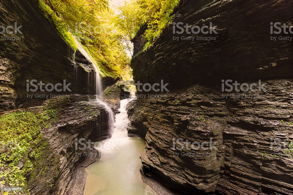Rainbow Falls and Bridge From Afar stock photo