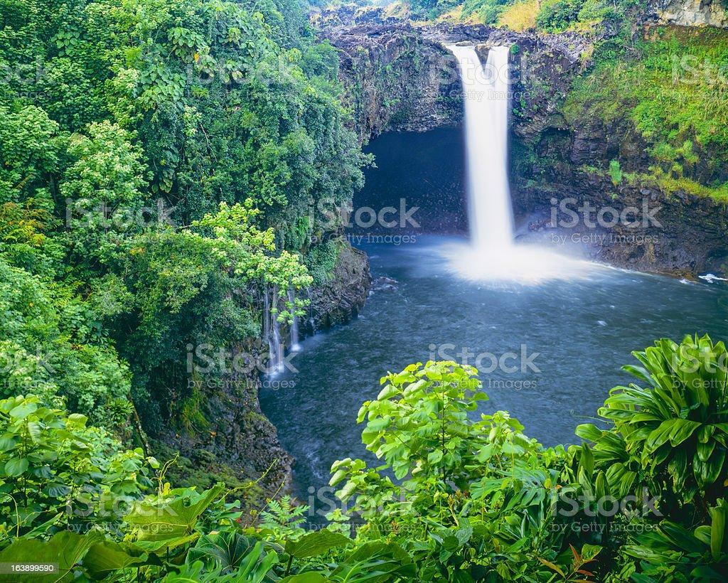 Rainbow falls, Hawaii stock photo
