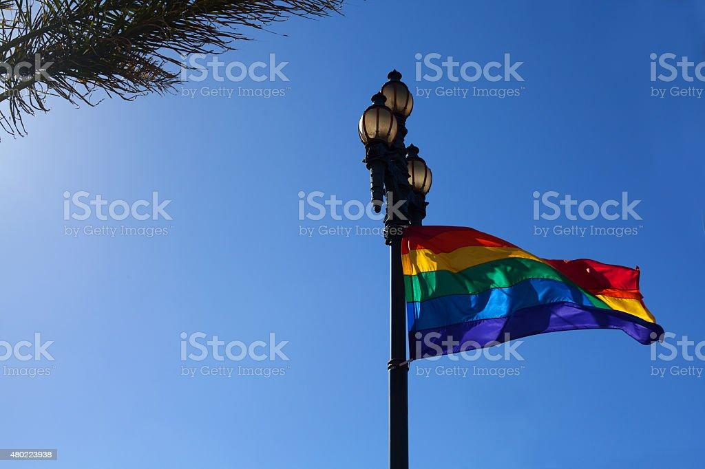 Rainbow flag fluttering stock photo