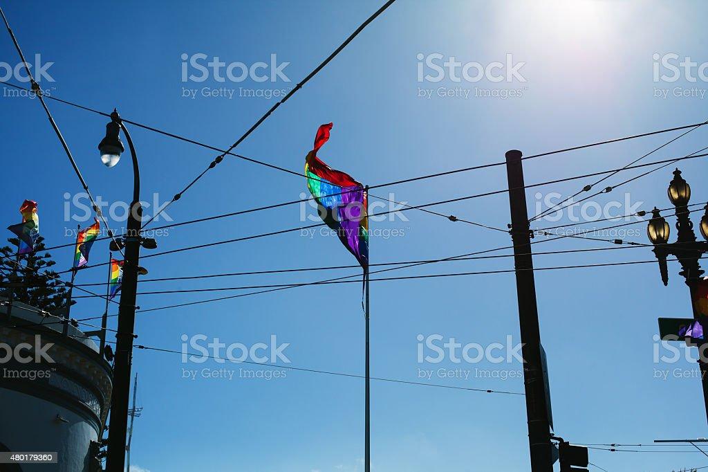 Rainbow flag in a sunny day stock photo