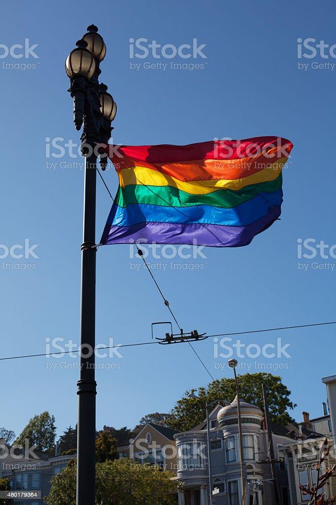 Rainbow Flag in San Francisco stock photo
