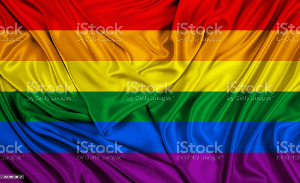 Rainbow flag - LGBT -- silk texture stock photo