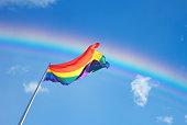Rainbow Flag on the blue sky background