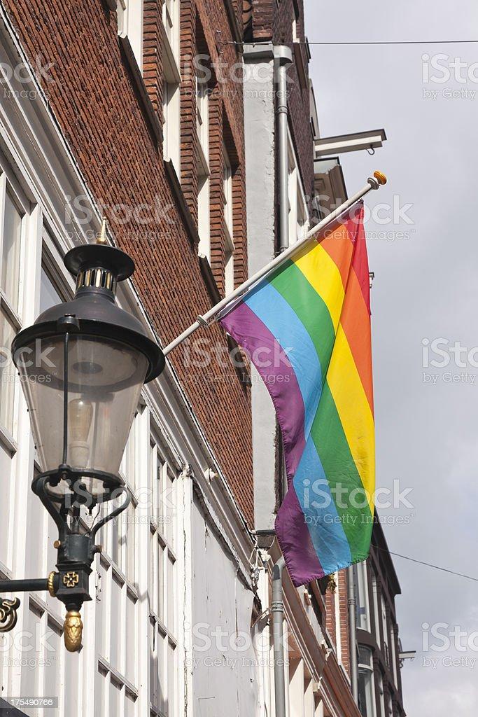 Rainbow Flag with street light royalty-free stock photo