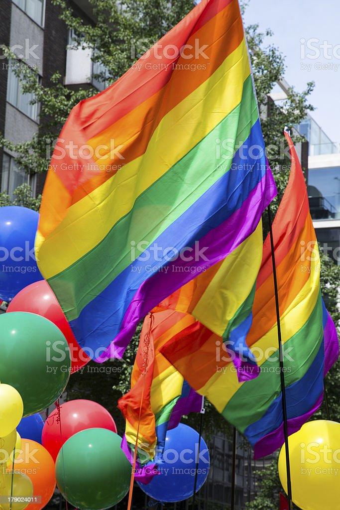 Rainbow Flags & Balloons stock photo