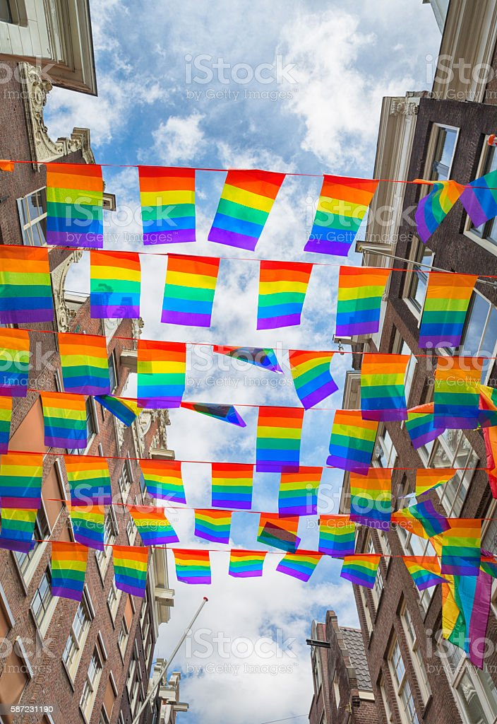 Rainbow Flags Gay Rights Pride in Amsterdam, Netherlands stock photo