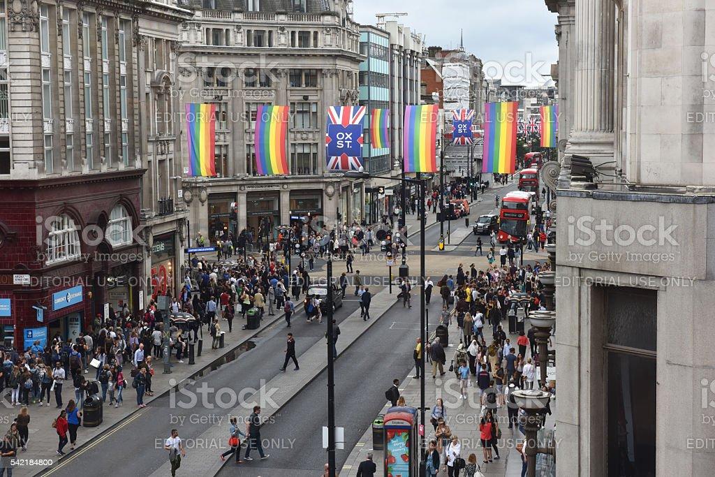 Rainbow flags in London stock photo