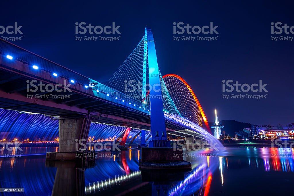 Rainbow fountain show at Expo Bridge in South Korea. stock photo