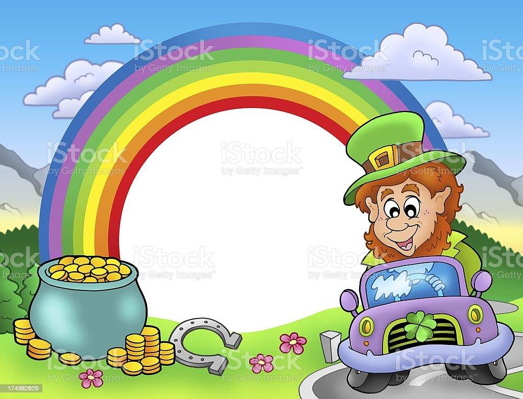 Rainbow frame with leprechaun in car royalty-free stock photo