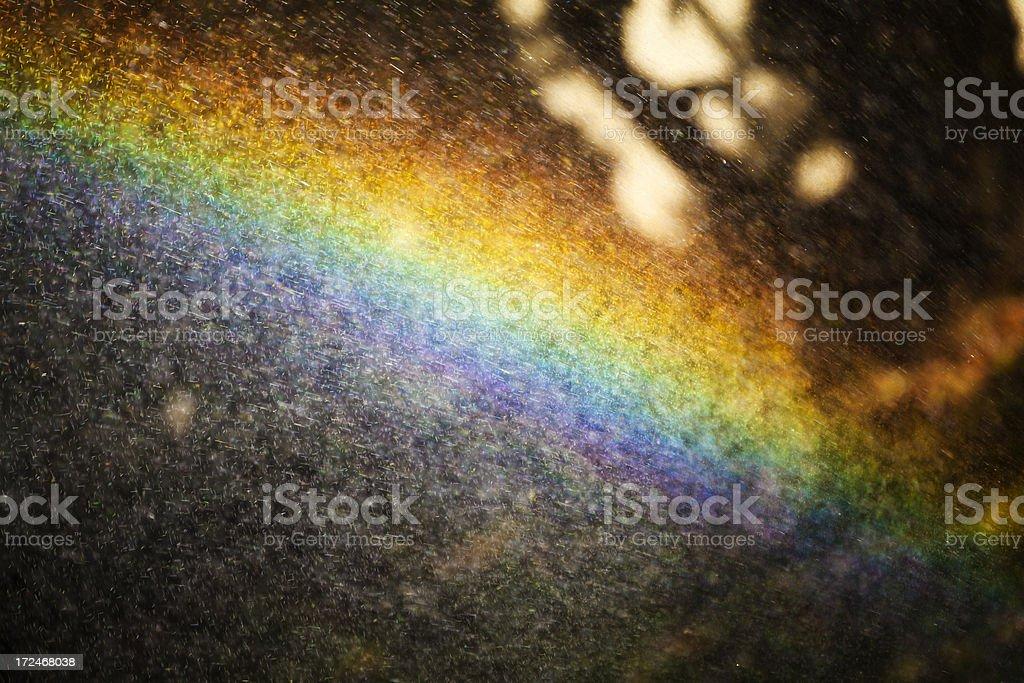 Rainbow from garden spray royalty-free stock photo