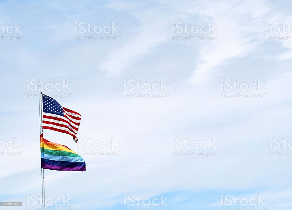 Rainbow gay pride and American flags royalty-free stock photo