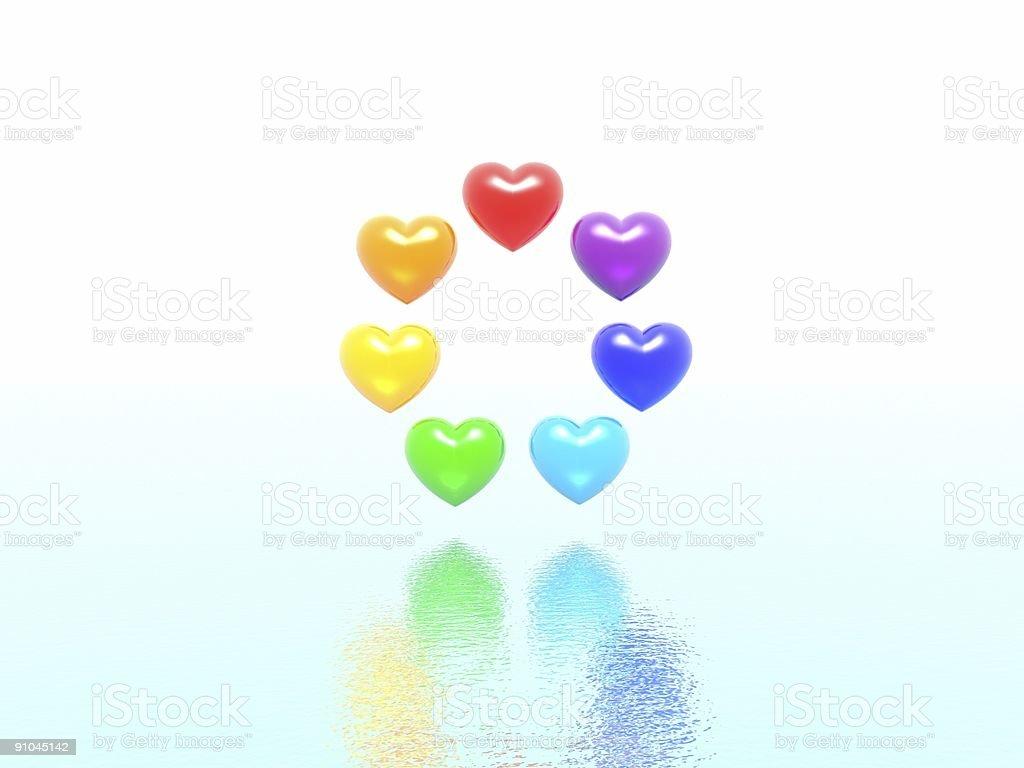 rainbow hearts royalty-free stock photo