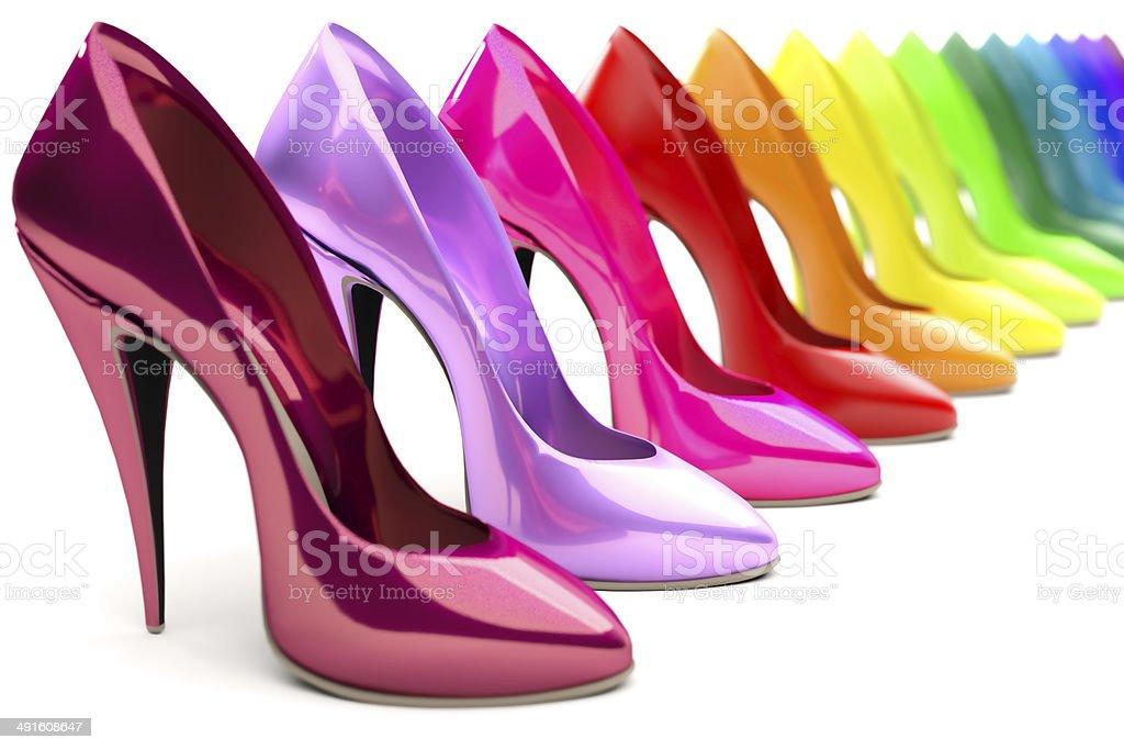 rainbow high heels stock photo