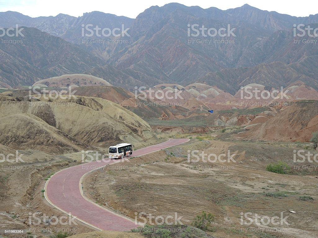 Rainbow hills near Zhangye, China stock photo