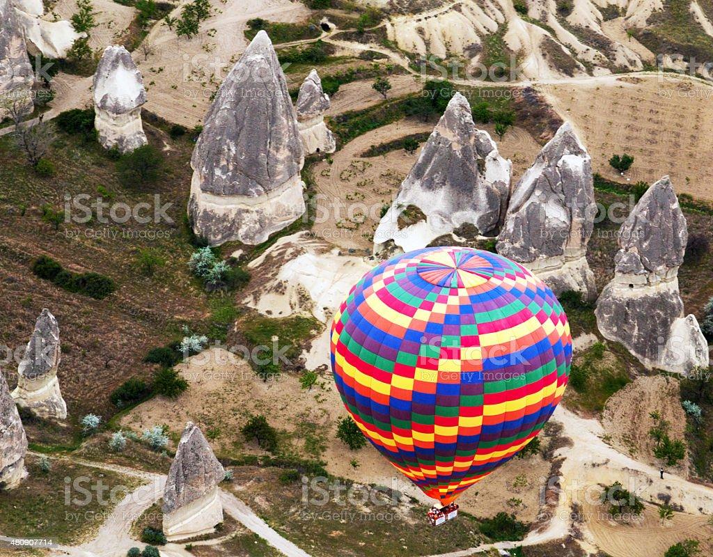 rainbow hot air balloons stock photo