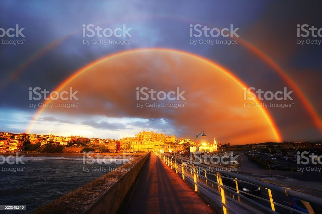 rainbow in Getxo stock photo