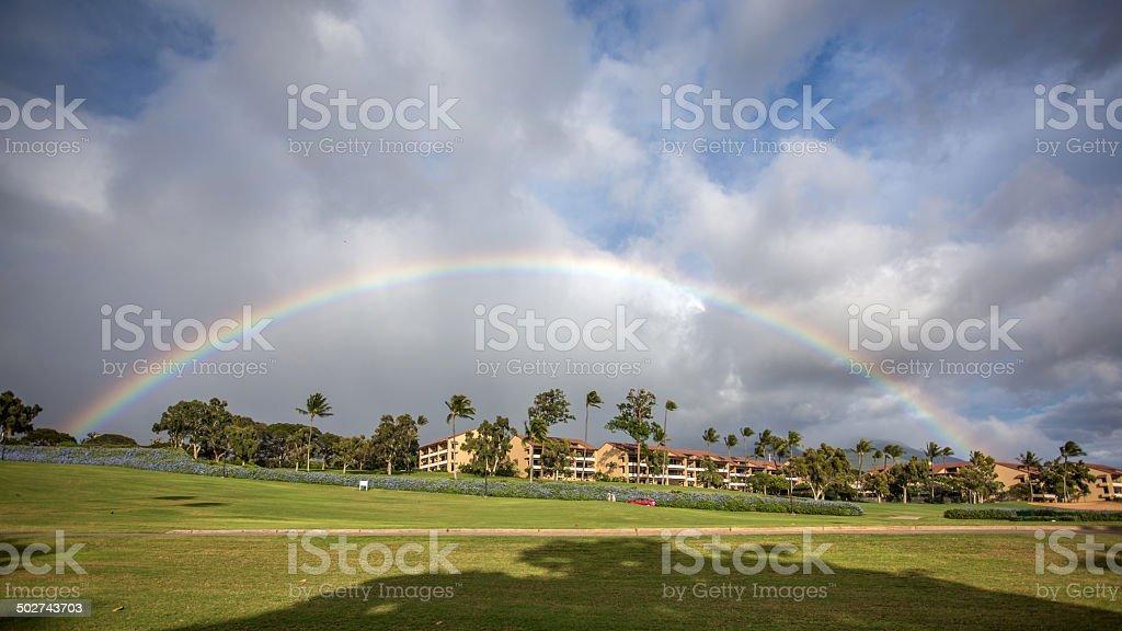Rainbow in Kaanapali resort stock photo
