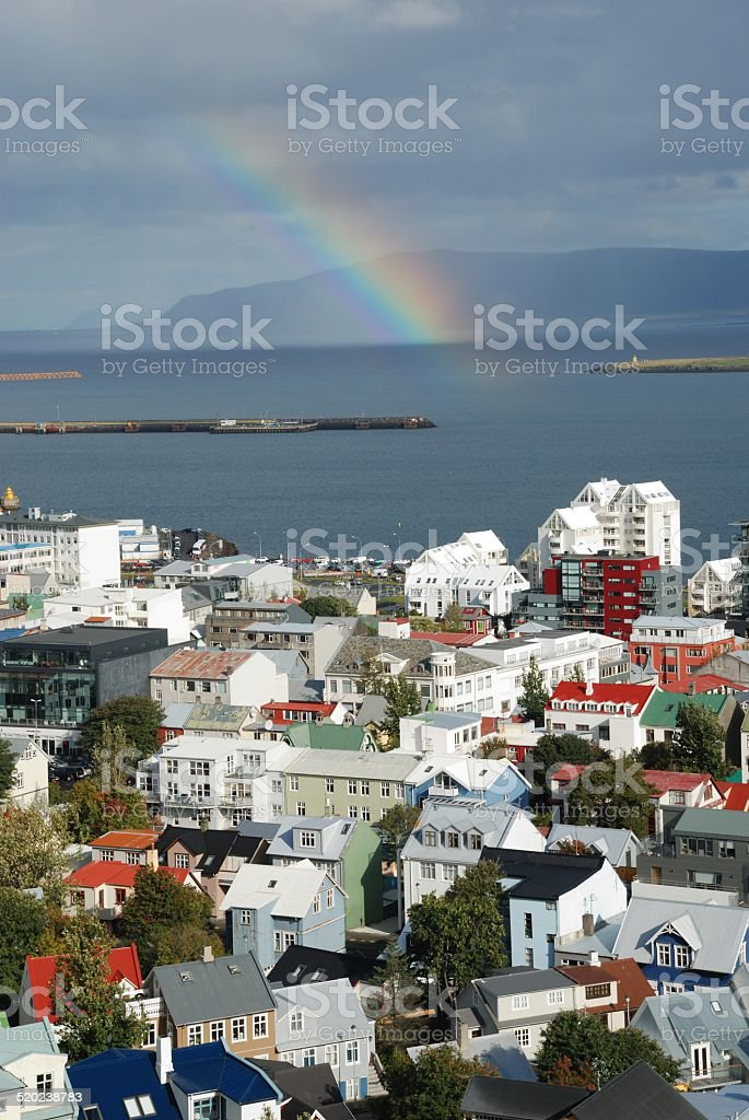 Rainbow in Reykjavik stock photo
