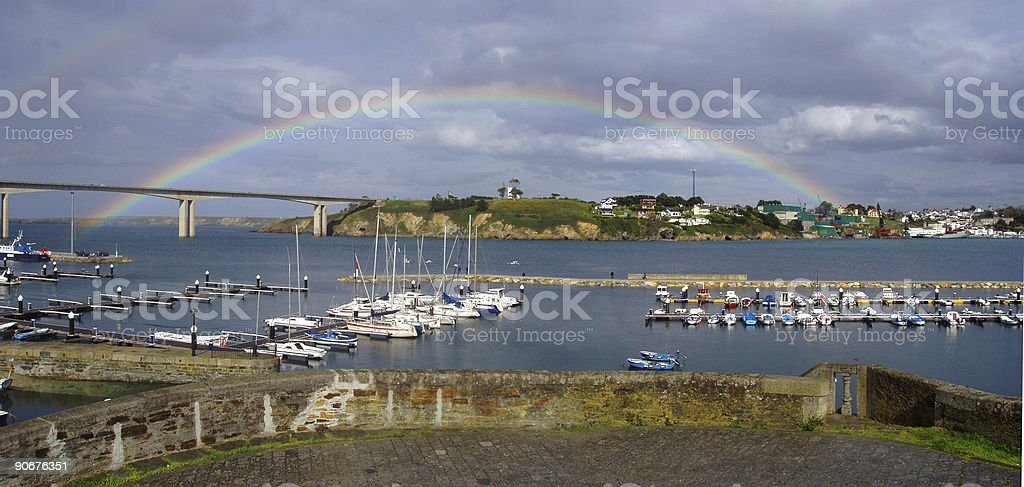 rainbow in ribadeo royalty-free stock photo