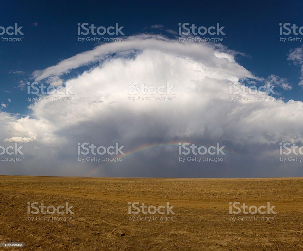 Rainbow in steppe / Kazakhstan royalty-free stock photo