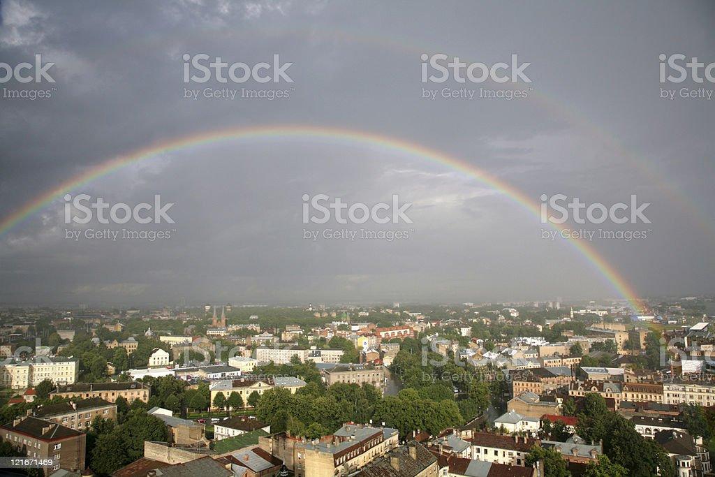 Rainbow in the city royalty-free stock photo
