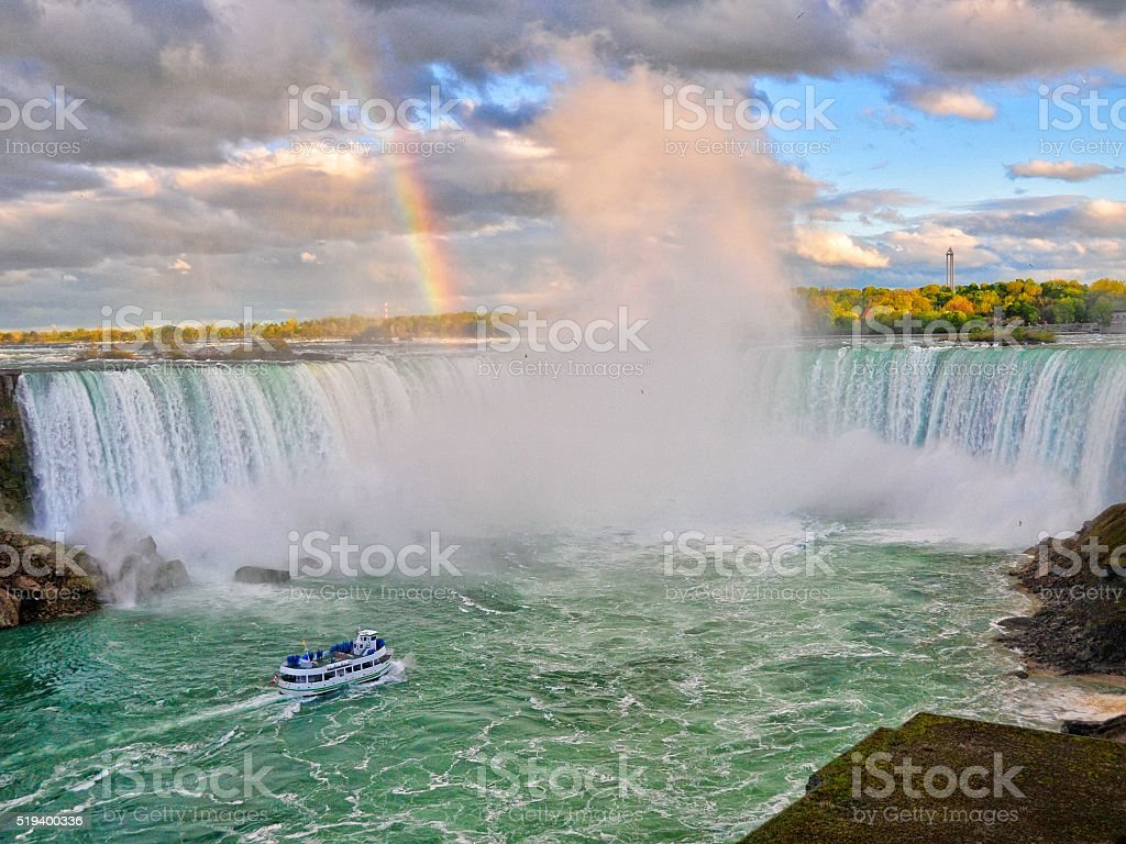 Rainbow in the Clouds Over Niagra Falls stock photo