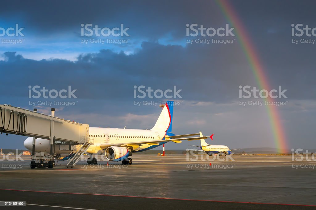 Rainbow in the evening airport royalty-free stock photo