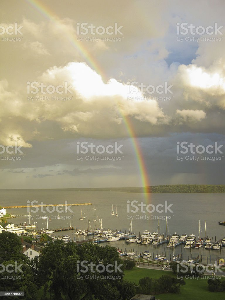 Rainbow in the Harbor stock photo