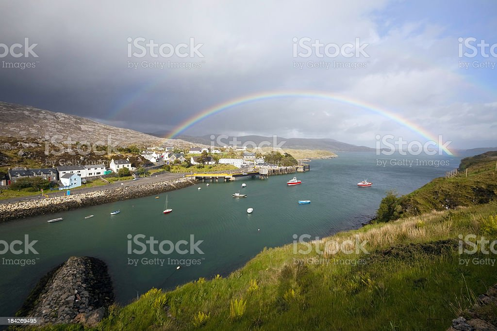 Rainbow in the Outer Hebrides: Tarbert, Isle of Harris stock photo